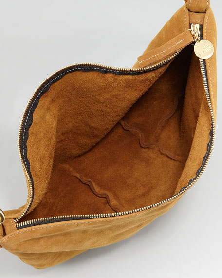 Moyen Colorblock Nubuck Messenger Bag, Camel/Black/White