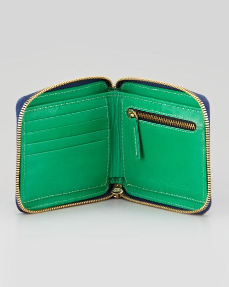 Basket-Weave Leather Half-Zip Wallet