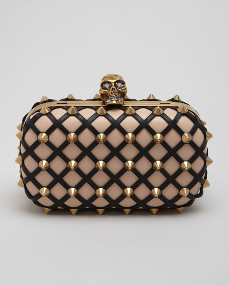 Studded Skull-Clasp Clutch Bag, Blush/Black