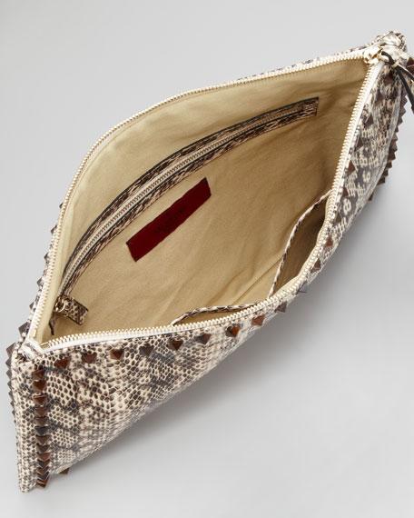 Rockstud Snakeskin Clutch Bag