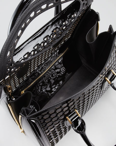 Medium Heroine Lasercut Honeycomb Satchel Bag, Black