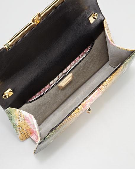 Priscilla Garden Splatter Python Clutch Bag, Multi