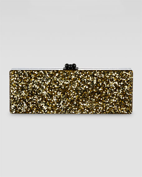 Flavia Ribbon Clutch, Gold/White/Black