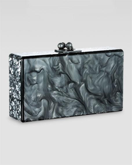Edie Confetti Clutch, Steel/Silver