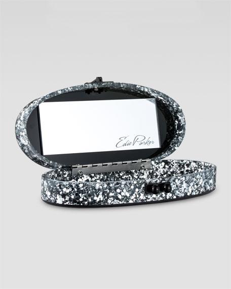 Jean Oval Confetti Clutch, Steel/Silver