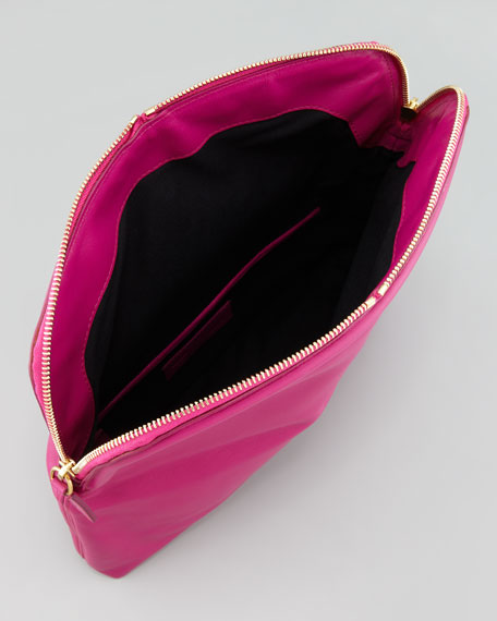 Skull Padlock Fold-Over Clutch Bag, Pink