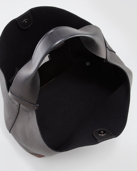 Bicolor Hobo Shoulder Bag, Black/Maroon