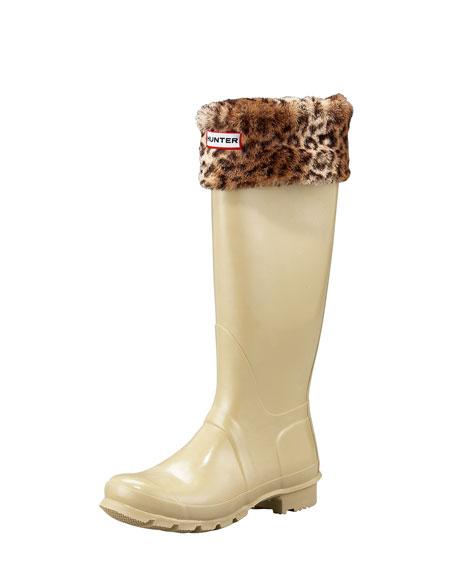 Welly Cuffed Sock, Leopard-Print