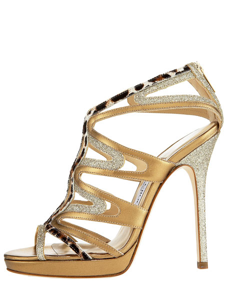 Mixed-Material Cage Sandal
