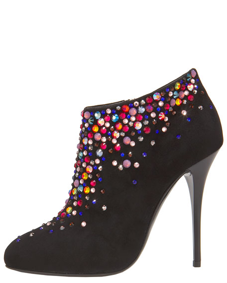 Crystal-Jeweled Suede Bootie