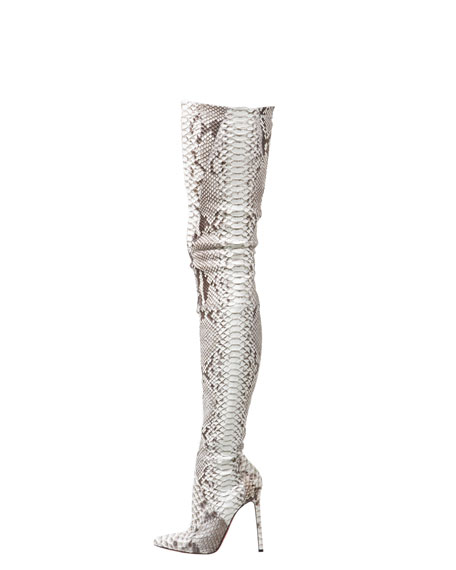 christian louboutin flats replica - Christian Louboutin Pigalle Python Over-the-Knee Boot