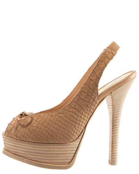Python-Embossed Suede Slingback