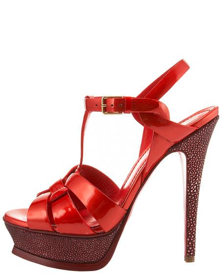Stingray-Heel Tribute Sandal, Red