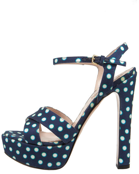 Printed Canvas Polka-Dot Platform Sandal