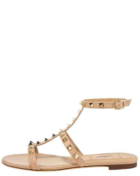 Studded Gladiator Flat Sandal, Sand