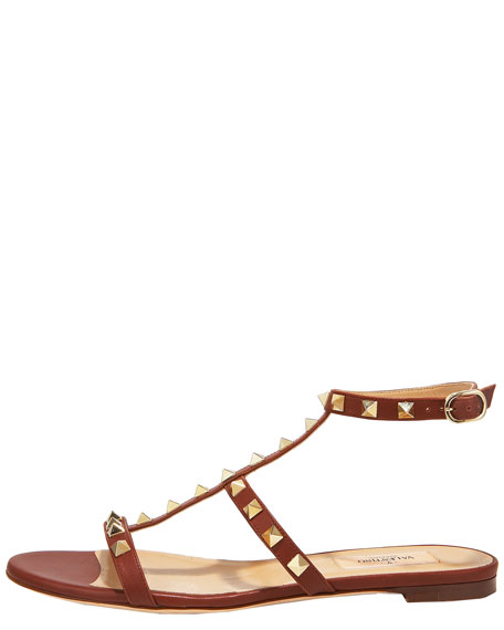 Studded Gladiator Flat Sandal, Dark Brown