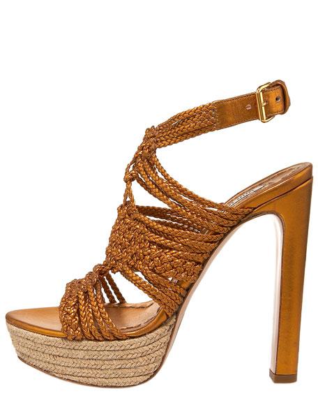 Braided Espadrille-Bottom Sandal