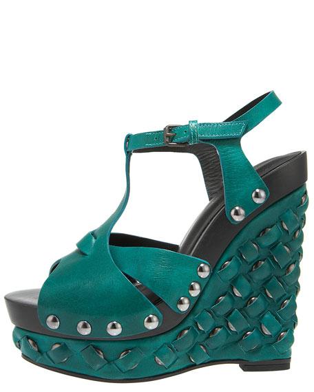 Studded Wedge T-Strap Sandal