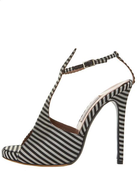 Striped Silk T-Strap Sandal
