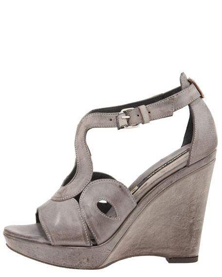 Cutout T-Strap Wedge Sandal