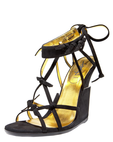 Barbed-Wire Suede Wedge Sandal