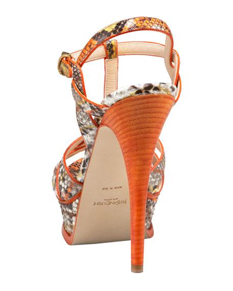 Tribute Python Sandal, Orange