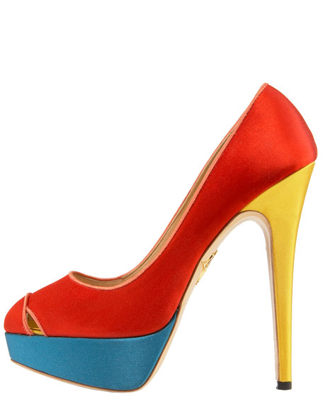 Colorblock Satin Pump