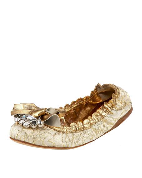 Woven Scalloped Jeweled Ballerina Flat