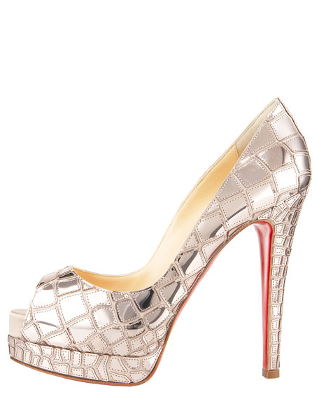 Croc-Sequined Platform Pump