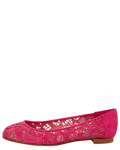 Veron Laser-Cut Suede & Mesh Ballerina, Fuchsia