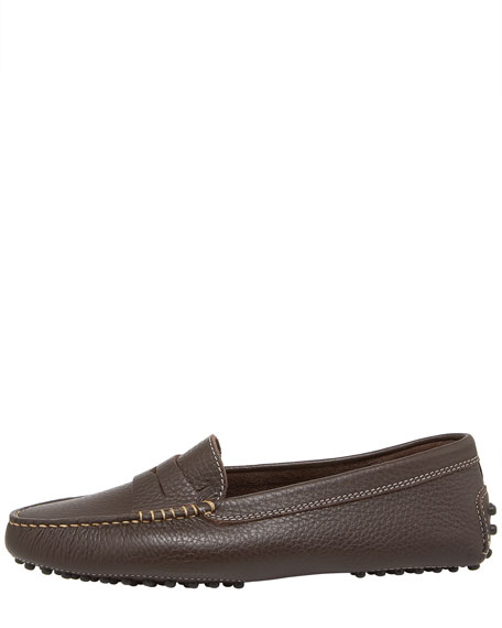 Gommini Pebbled Moccasin, Brown
