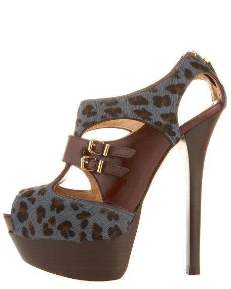 Calf-Hair & Leather T-Strap Sandal
