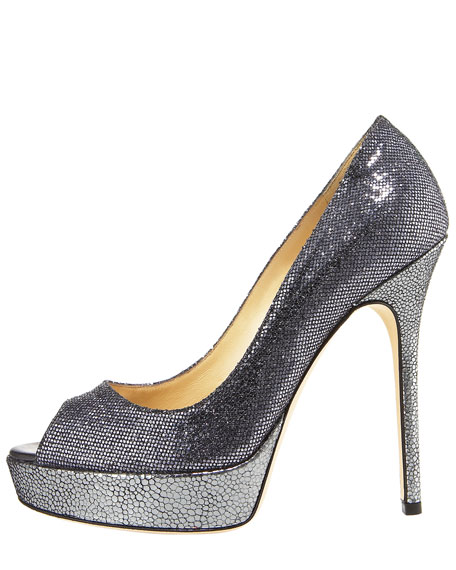 Crown Glittered Peep-Toe Platform Pump