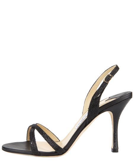 India Glittered Fabric Crisscross Slingback