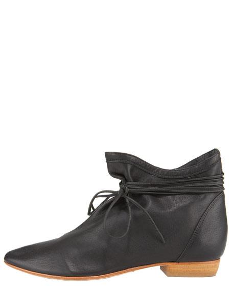 Wrap-Tie Flat Ankle Boot
