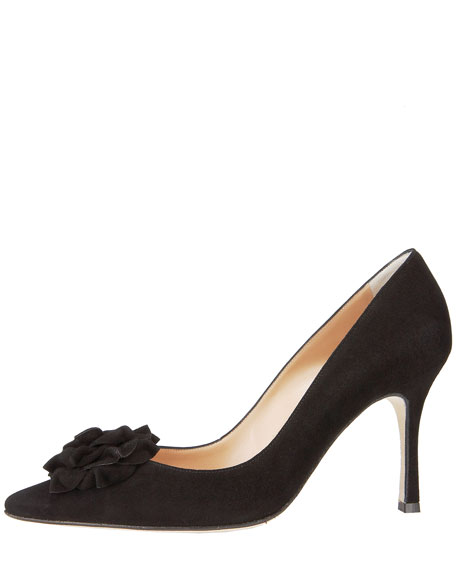 Lisa Suede Flower Pump