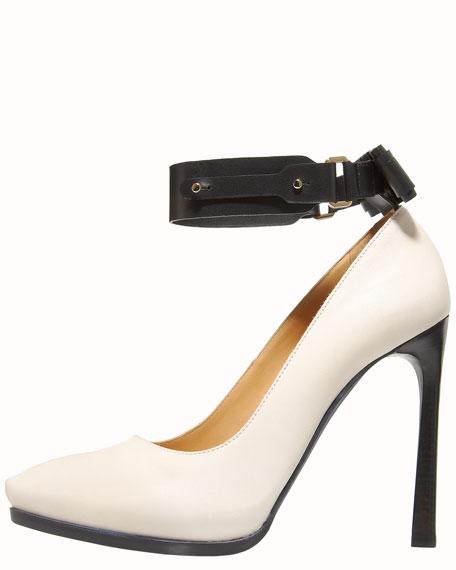 Laser-Heel Ankle-Wrap Pump