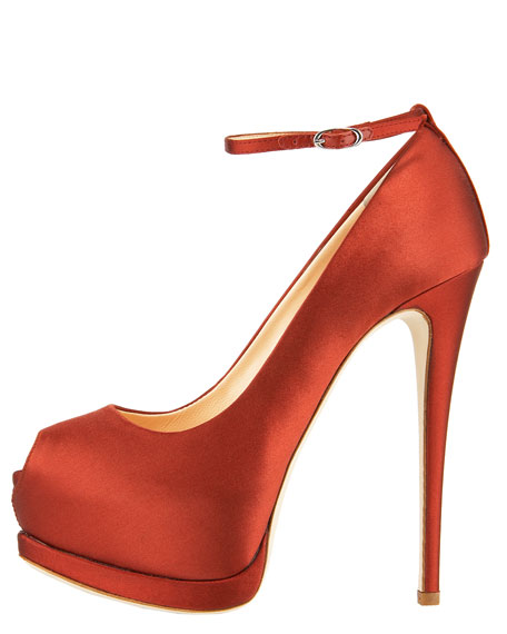 Satin Ankle-Wrap Peep-Toe Pump