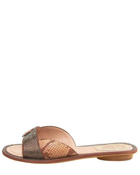 Crystal & Python Flat Thong Sandal