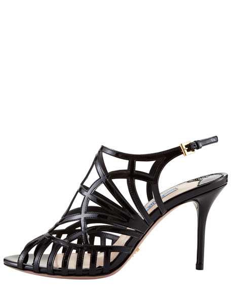Patent Cutout Slingback Sandal, Black or Cipria
