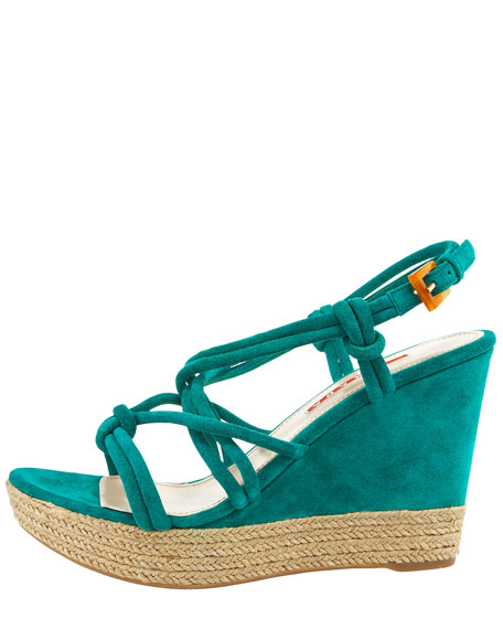Knotted Suede Espadrille Wedge