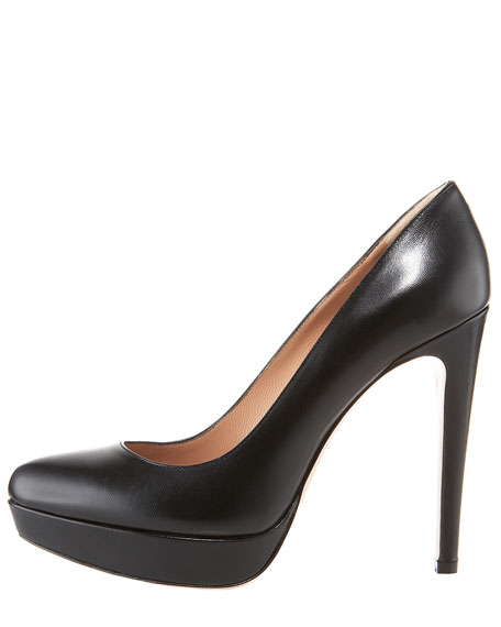 Leather Platform Pump, Black