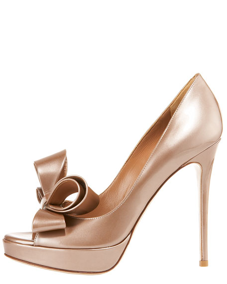 Couture Bow Platform Pump, Light Brown Metallic