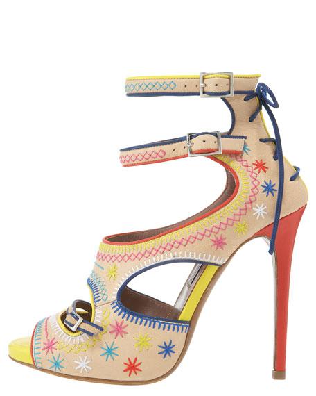 Embroidered Ankle-Strap Platform Sandal