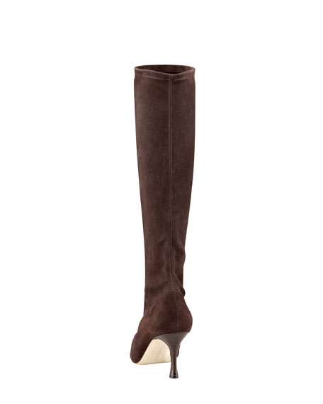 Pascalare Stretch-Suede Mid-Heel Knee Boot