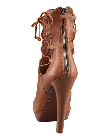 Napa Leather Peep-Toe Zip Back Ankle Boot