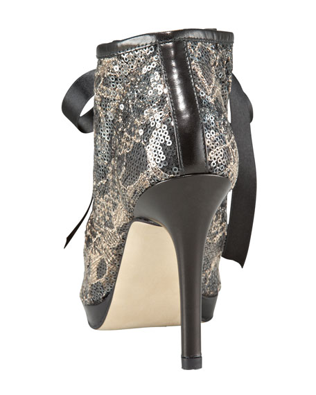 Sequined Lace-Up Bootie