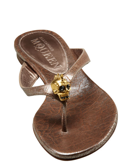 Skull-Detail Thong Sandal, Rose Gold