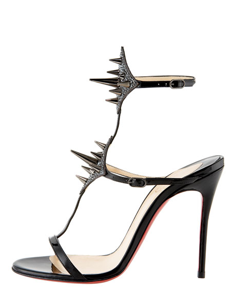 Lady Max Spike T-Strap Sandal, Black