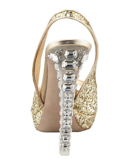 Jewel-Heel Glitter Pump